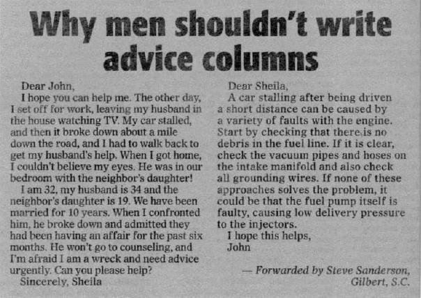Why Meny shouldn't Write Advice Columns